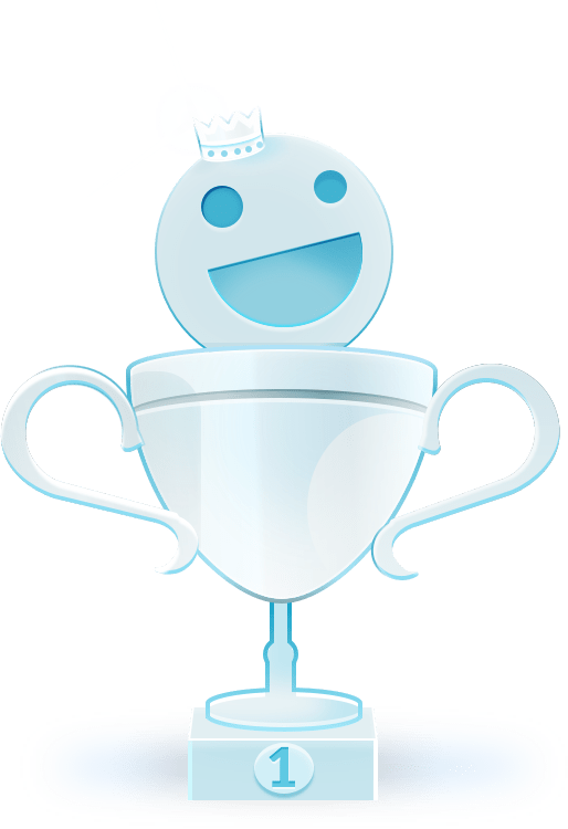 Illustration, Siegerpokal mit Smiley